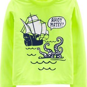 OshKosh | Ahoy Matey Pirate Rashguard Neon Yellow